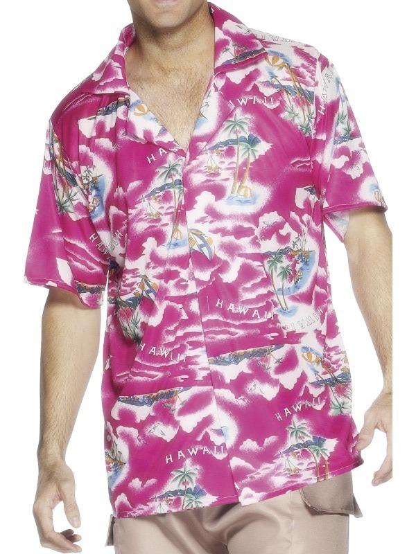 Havajská košile růžová - Levný karneval 00e5392dad