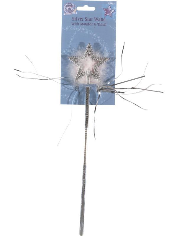 Karnevalové doplňky - Kouzelná hůlka hvězda s chmýřím