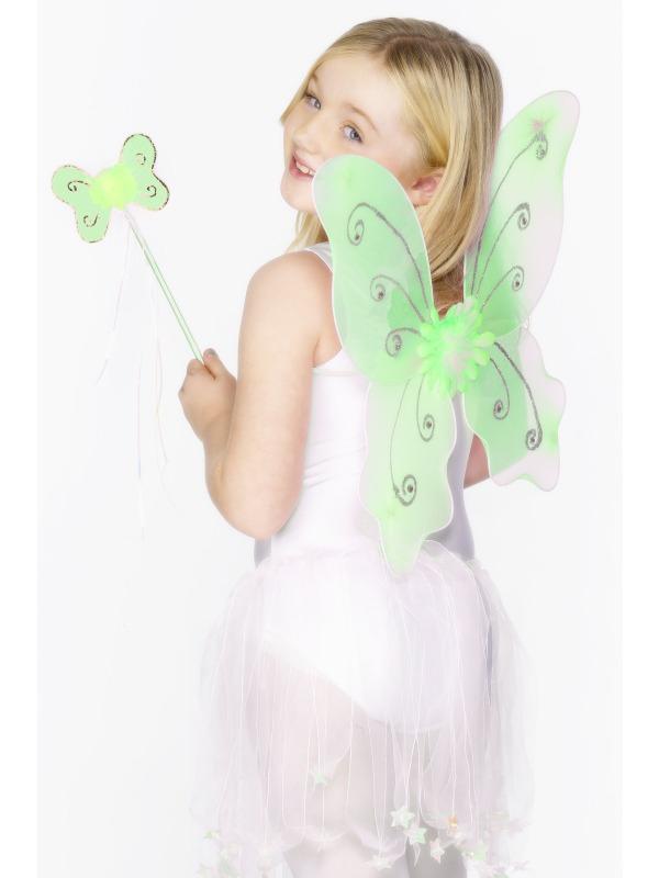 Karnevalové doplňky - Dětská křídla a hůlka zelená