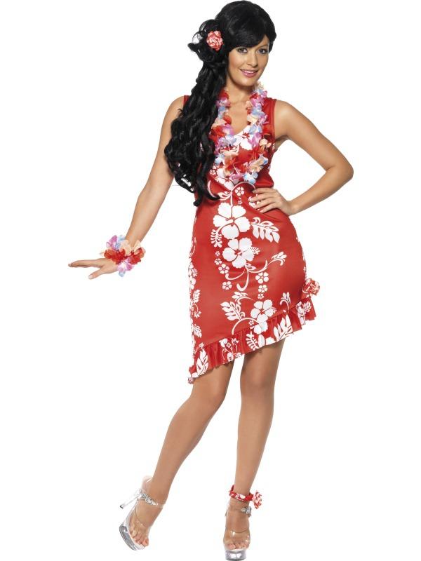 Havajská párty - Kostým Havajská dívka červená