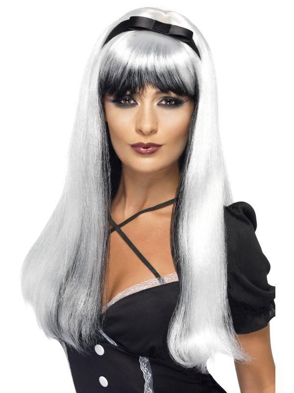 Čarodějnice - Paruka čarodějnice Bewitching stříbrná/černá
