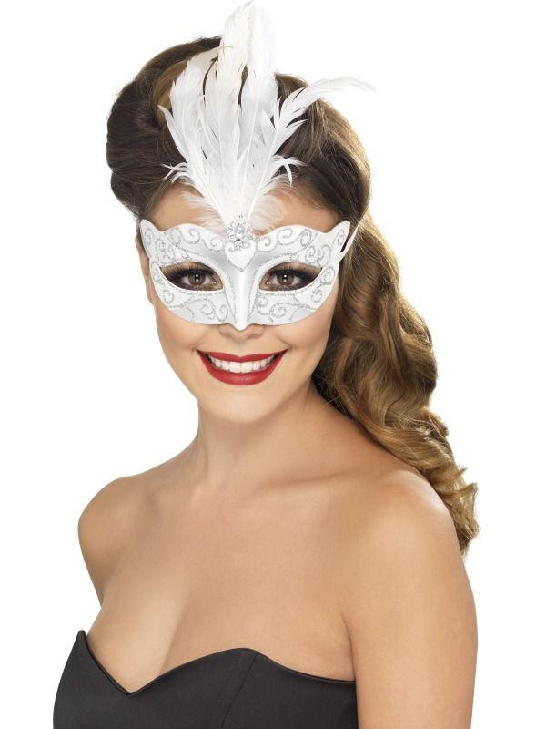 Masky - Benátská škraboška s glitry bílá