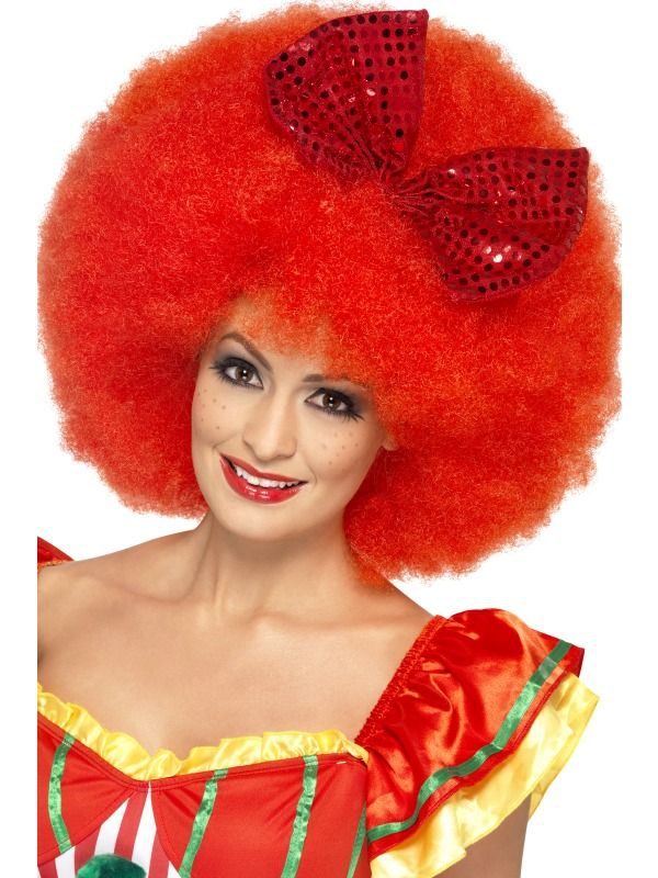 Klauni - Paruka Afro s červenou mašlí