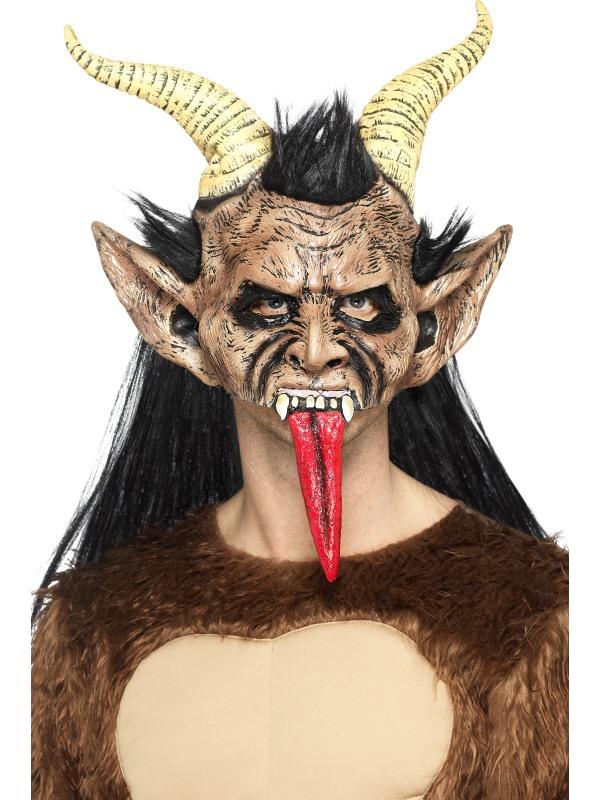 Mikuláš - Čert - Anděl - Maska Čert s vlasy, rohy a dlouhým jazykem