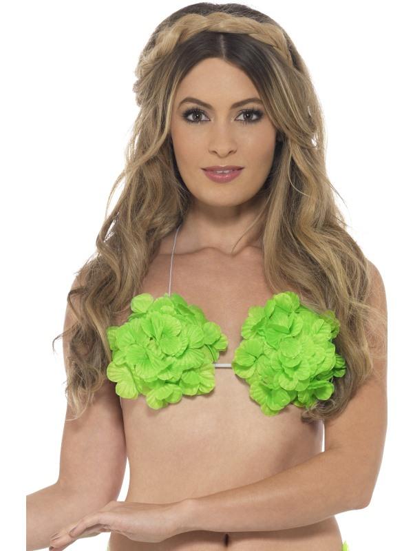 Havajská podprsenka květiny zelená - Levný karneval a982842392