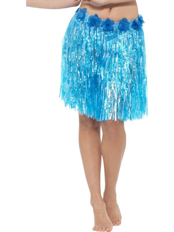 Havajská párty - Havajská sukně modrá 40 cm s květinami