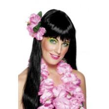 Havajské kvítko do vlasů růžové