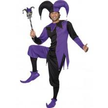 Pánský kostým Dvorní šašek fialová/černá