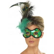 Škraboška Emerald Peacock s pavím peřím