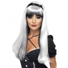 Paruka čarodějnice Bewitching stříbrná/černá
