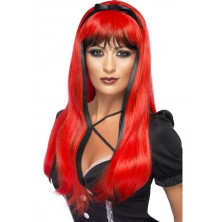 Paruka čarodějnice - Bewitching červená/černá