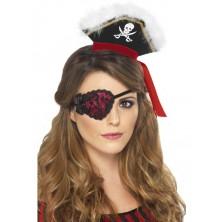 Pirátská záslepka červená s černou krajkou
