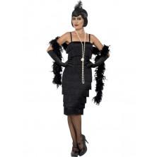 Kostým Flapper dlouhé šaty černé na charleston