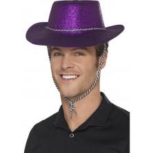 Klobouk s glitry, fialový