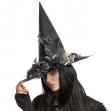 Klobouk Čarodějnice s kytkami a lebkou