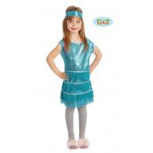 Dětské šaty modré s čelenkou