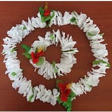 bílý havajský květinový věnec na krk + náramek na ruce