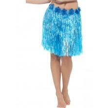 Havajská sukně modrá 40 cm s květinami
